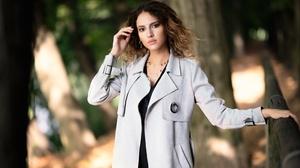 Brown Eyes Brunette Coat Depth Of Field Girl Model Woman 3000x2000 Wallpaper