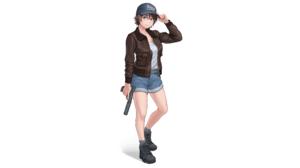 Gun Jacket Shorts Hat Brunette Original Characters KZM 2560x1440 Wallpaper