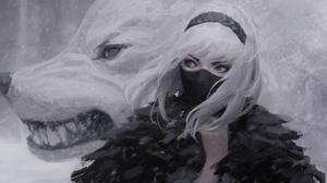 Anime Girls Digital White Artwork Wolf Girl GUWEiZ 1920x1080 wallpaper