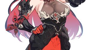 Anime Anime Girls Digital Art Artwork 2D Portrait Display Vertical Red Eyes Black Hair Dress Armpits 868x1362 Wallpaper
