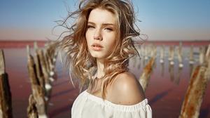 Blonde Blue Eyes Depth Of Field Girl Model Woman 2500x1667 wallpaper