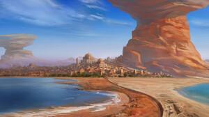 Daniele Montella Digital Art Desert Oasis City Clear Sky 1920x876 Wallpaper