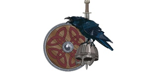 Vikings Crow Shield Sword Helmet White Background Simple Background Digital Art Artwork Minimalism 2048x1366 Wallpaper
