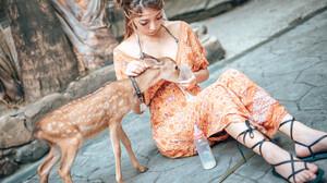 Animals Mammals Deer Women Model Asian Food Sitting Women Outdoors Outdoors Necklace Dress Orange Dr 2048x1365 Wallpaper
