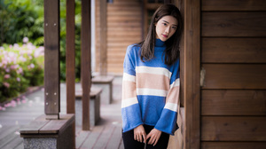 Asian Model Women Women Outdoors Long Hair Dark Hair Leaning Pullover Pants Bench House Bushes Depth 3840x2559 Wallpaper