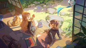 Yui Hirasawa Tsumugi Kotobuki Girl Animal Blonde Blue Eyes Brown Eyes Brown Hair Cat Long Hair Schoo 2509x1250 Wallpaper