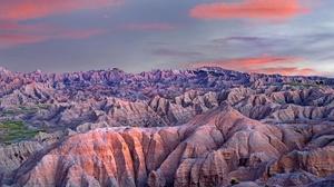 Badlands Badlands National Park Canyon Mountain Sunset Usa 5488x3087 Wallpaper