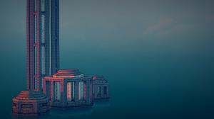 Townscaper Town Skyscraper Skyline Digital Art Video Game Art Video Games Minimalism Architecture 2560x1440 Wallpaper