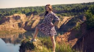 Model Women Brunette Dress Sneakers Lake Trees Flowered Dress Women Outdoors 2560x1709 Wallpaper