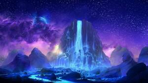 Cloud Mountain Purple Sky Stars Waterfall 2255x1080 Wallpaper