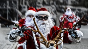 Biker Christmas Glasses Man Santa 2000x1333 Wallpaper