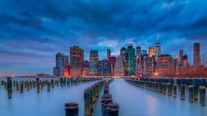 Building City Manhattan New York Night Skyscraper Usa 2048x1152 Wallpaper