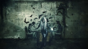 Girl Graffiti Latex Long Hair Model Tears White Hair Woman 2560x1506 Wallpaper