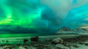 Aurora Borealis Cloud Lake Nature Sky Winter 2048x1224 wallpaper