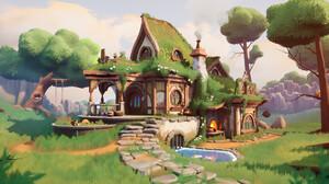 Digital Art Hobbits House Garden Trees Landscape 3698x2080 Wallpaper