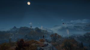 Landscape Assassins Creed Valhalla Trees Mountains Clouds Clear Sky 3440x1440 wallpaper