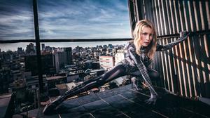 Asian Model Women Long Hair Blonde Rooftops Spider Man Skyline Depth Of Field 3840x2562 Wallpaper