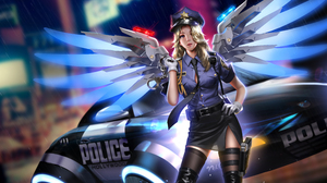 Mercy Overwatch Overwatch Video Games Video Game Girls Berets Video Game Characters Blonde Police Wo 8000x4720 Wallpaper