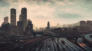 City Grand Theft Auto V Los Santos Road Sky Skyscraper 4714x1659 wallpaper