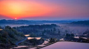 Landscape Nature Valley Mist Rice Paddy 2048x1367 Wallpaper