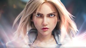 Blonde Blue Eyes Face Girl League Of Legends Lux League Of Legends Stare 3186x1708 Wallpaper