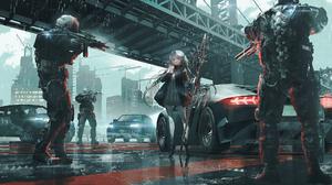 Anime Girls Original Characters Science Fiction SWAV Artwork Rain Car 2000x1114 Wallpaper