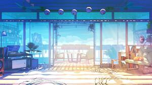 Digital Art Digital Bogdan MB0sco Sunlight Dog Shiba Inu Shiba Record Players Balcony 1920x1080 Wallpaper