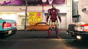 Car Comics Figurine Iron Man Marvel Comics Orange Car Tony Stark 3840x2160 Wallpaper