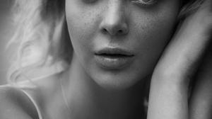 Women Model Long Hair Monochrome Portrait Display Face Looking At Viewer Tattoo Karen Abramyan Freck 1856x2784 Wallpaper