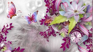 Artistic Butterfly Clock Flower Leaf Spring 1920x1080 Wallpaper