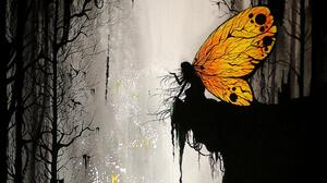 Butterfly Girl Woman Yellow 1920x1080 Wallpaper