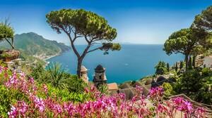 Amalfi Coastline Flower Horizon Italy Ocean Sea Tree 3840x2160 Wallpaper