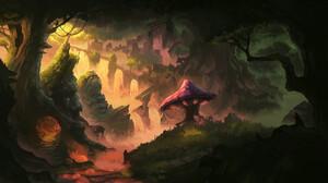 Landscape Digital Art Forange Forest Artwork 3840x2160 Wallpaper