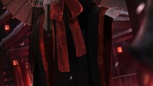 Anime Anime Girls Aoi Ogata Umbrella Red Clothing Black Clothing Black Clothes Red Background City L 1435x2070 Wallpaper