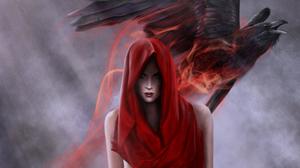Death Fantasy Occult Raven Woman 1920x1200 Wallpaper