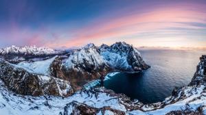 Coast Coastline Horizon Mountain Ocean Panorama Sea Snow Winter 7680x4320 Wallpaper
