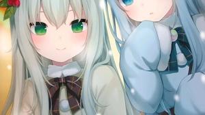 Cat Girl Anime Girls Two Women Anime Animal Ears Long Hair Green Eyes One Eye Closed Smiling Looking 942x1334 Wallpaper
