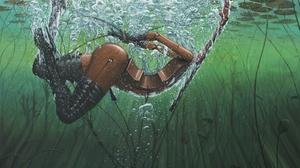 Artwork Painting Adrian Borda Surreal Underwater Torso Musical Instrument Bubbles Plants Elbow Glove 2400x1783 Wallpaper