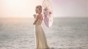 Women Blonde Julia Altork Parasol In Water Gold Dress Strapless Dress Bare Shoulders Profile Women W 5660x3773 Wallpaper