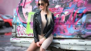 Women Model Ponytail Sunglasses Black Jackets Leather Jackets Dress Sitting Women With Cars Graffiti 2560x1663 Wallpaper