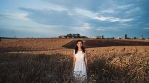 White Dress Black Hair Depth Of Field Field Wheat Summer 2000x1333 Wallpaper