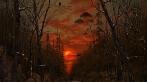 Portrait Display Sunset Digital Art Digital Painting Tree Bark Red Sky Fan Art Artwork Giorgos Tsoli 1795x2400 Wallpaper