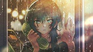 Anime Anime Girls Rain Crying Phone Box Black Hair Green Eyes Looking At Viewer Water Drops City Lig 1920x1080 Wallpaper