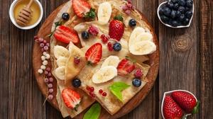 Banana Berry Blueberry Breakfast Crepe Fruit Honey Still Life Strawberry 5616x3744 Wallpaper