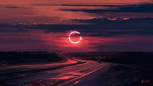 Artwork Cloud Eclipse Evening Moon Road 1920x1080 Wallpaper