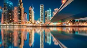 Water Night City Reflection Building Skyscraper United Arab Emirates 2048x1322 Wallpaper