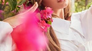 Isabela Merced Women Actress Latinas Peruvian Women Outdoors Sunlight Flowers Long Hair Brunette 1280x1920 Wallpaper