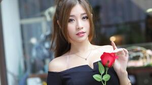 Asian Model Women Long Hair Brunette Depth Of Field Ponytail Rose Necklace Bare Shoulders Black Top 2808x1872 Wallpaper