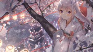 Anime Anime Girls Oyuyu Cherry Blossom Japanese Clothes Kimono Silver Hair Blue Eyes 4096x2734 Wallpaper