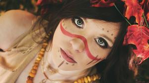 Brunette Face Girl Green Eyes Makeup Model Native American Woman 3000x2000 Wallpaper